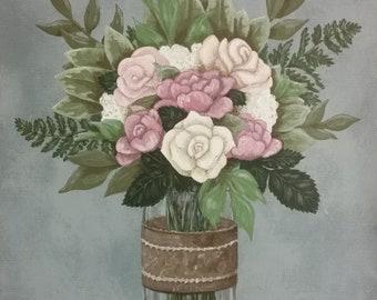 Custom Original Wedding Memento or Memorial Keepsake Wall Art - Acrylic Painting on Canvas - BRIDAL FLOWER BOUQUET