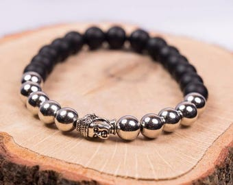 Black and Silver Buddha Bracelet - Silver Buddha - Buddha Charm - Good Luck Bracelet - Buddha Bead Bracelet - Reiki Bracelet - Wish Bracelet