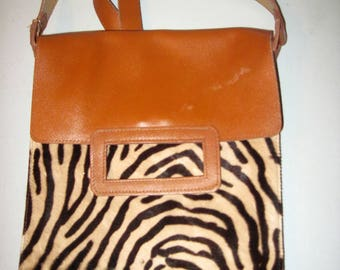 Vintage leather and faux fur BC handbag