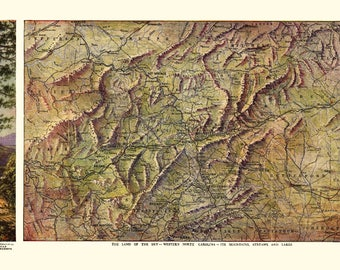 Western North Carolina - (1917) - Panoramic Map (Art Print - Multiple Sizes Available)