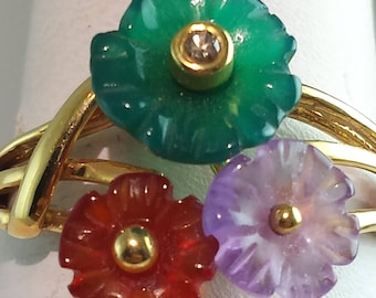 14k yellow multi color stone  ring