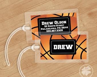 Basketball - Luggage Tag, Bag Tag, Backpack Tag, ID Tags, Personalized, Custom
