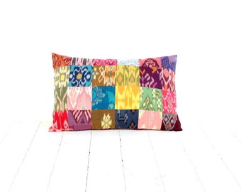 Ikat Pillow, Patchwork, 12x18