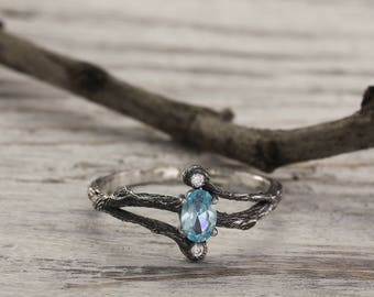 Topaz tiny branch engagement ring, Branch engagement ring in silver, Topaz engagement ring, Delicate engagement ring, Unique gift for her