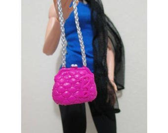 Barbie Purse handbag shoulder pink purse with silver for barbie doll