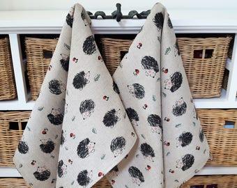 Handmade Linen Cotton Hedgehog Tea Towels Kitchen Towels Dish Towels.