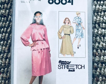 Simplicity #8664 Vintage 1980's Sewing Pattern Misses' Softly Gathered Stretch Knit Dress raglan sleeve Two Piece Dress/Tie Belt  UNCUT NEW
