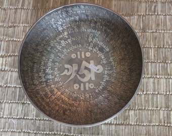 """11"""" Handmade Buddhist Mantra Carved Singing Bowl made in Nepal"""