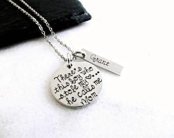 there's this boy who stole my heart he calls me mom necklace - personalized name necklace - mom mothers gift - christmas for moms 2017