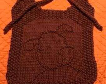 Hand knit Pig Baby Bib and Washcloth Set