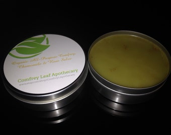 Organic All Purpose Healing Comfrey, Chamomile & Rose Salve 4 oz