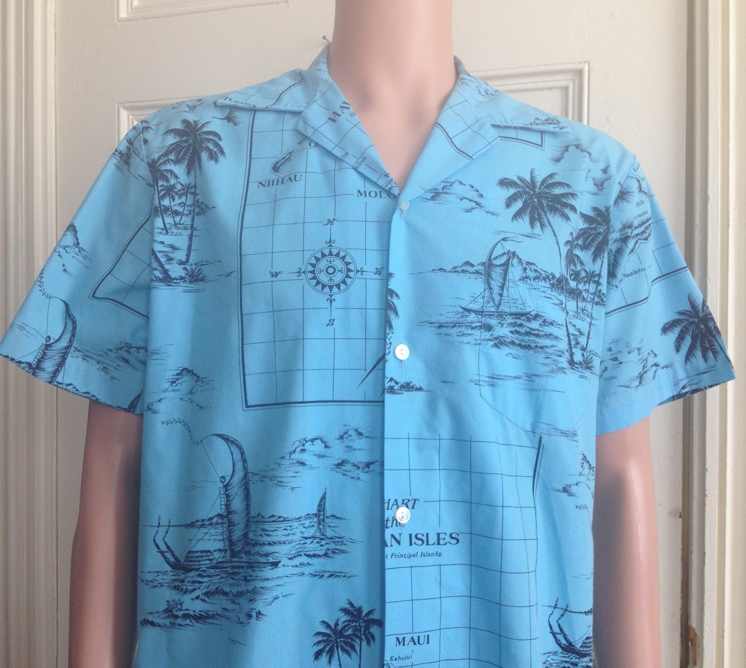 6c5e02959 Vintage Hawaiian Shirt Mens Short Sleeve Kai Nani Blue Aloha