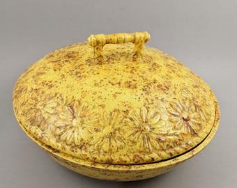Vintage Ceramic Casserole Lidded Dish Kitchen Decor 60s 70s Flowers Floral Yellow Orange