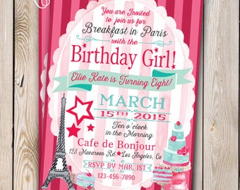 Paris Invitation Girl Doll Birthday Doll Baking Party Parisian Doll Party Customizable 5x7 Printable Girly Doll Party Doll Birthday Pastry