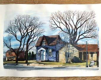 Custom Made House Portrait or Streetscape Painted From Your Photo