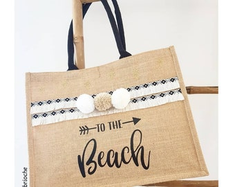 Personalized Jute Tote tassels and fringes