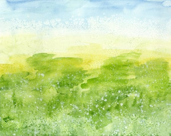 Cotton, Abstract Landscape, Original Watercolor Painting