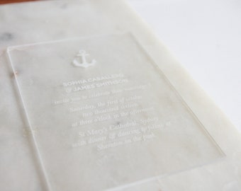 Custom invitation Acrylic Clear Sign with white etched custom message