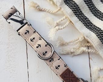 "Dog Collar The ""Anchor"" ,handmade collar"