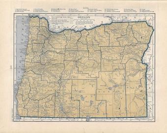 Vintage Oregon map, 1939, atlas