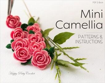 Mini Crochet Camellia Flower Pattern  - Crochet Flower Pattern - Crochet Appplique Pattern