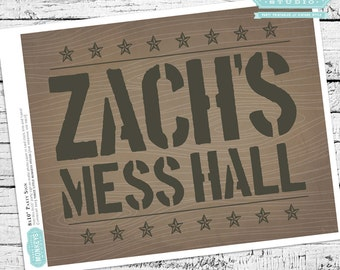 Little Soldier Personalized Mess Hall Sign