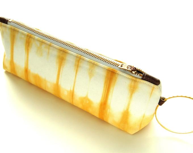 Contemporary Shibori Wristlet Clutch - Goldenrod