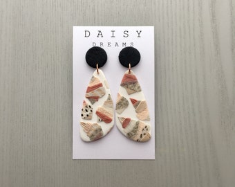 Textured shell earrings large dangle