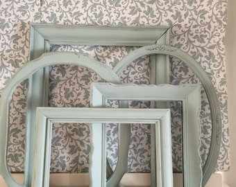 Grouping Vintage Duckegg Blue Distressed Picture Frames