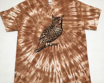Hand Tie Dyed Brown L T Shirt with Printed Owl Ready To Ship Large Dye Shirt #12292