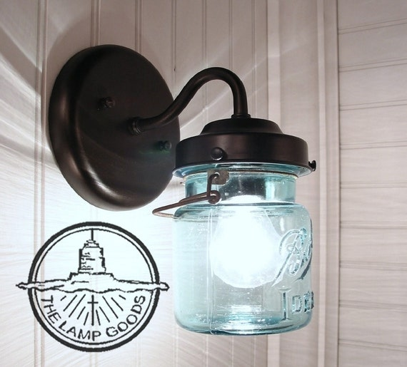 Vintage BLUE Canning Jar SCONCE Light Mason Wall Flush Mount