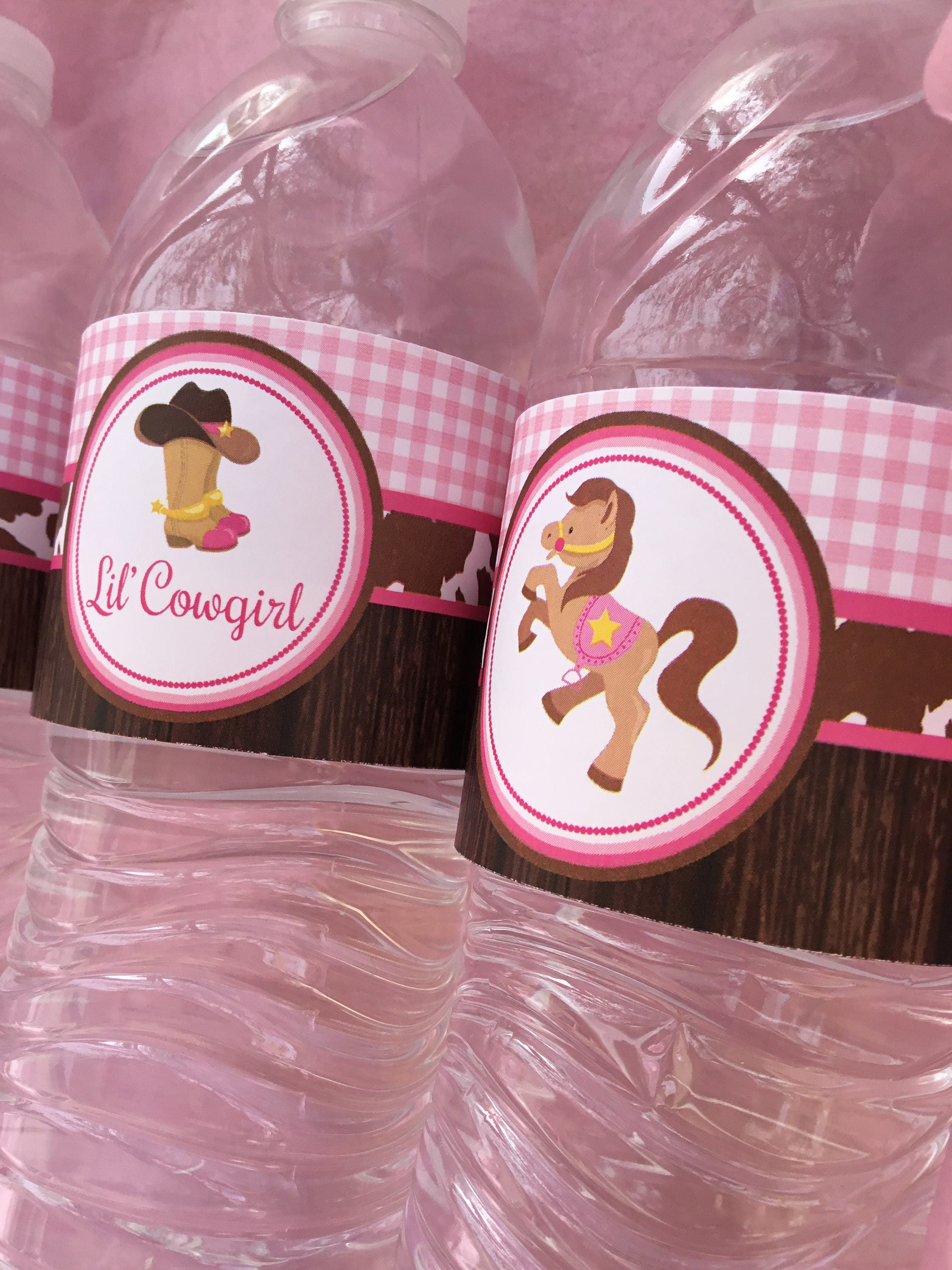 Cowgirl Baby Shower Water Bottle Wrappers Lil Cowgirl