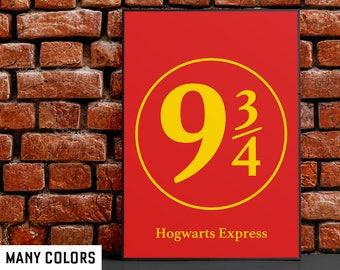 Platform 9 3 4 sign: Hogwarts Express print, Gryffindor, Slytherin, Hufflepuff, Ravenclaw, Harry Potter gift, poster, art, minimalist