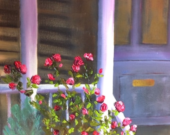 Porch Roses, Flower Painting, Porch and Flowers