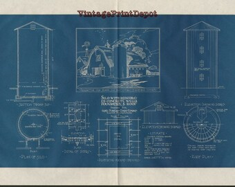 Vintage blueprints etsy silo with reinforced concrete walls foundation roof blueprint blueprints wall decor blueprint digital malvernweather Choice Image