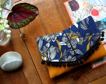 Pocket / elastic pouch / ring tobacco / wallet / yellow / flower