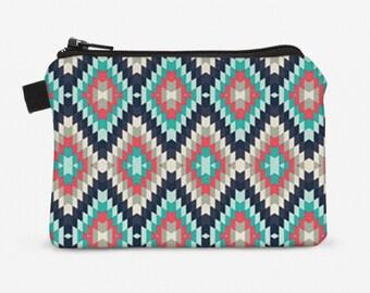 Navajo Coin Purse, Small Zipper Pouch, Padded Change Purse, Mini Zipper Wallet  - coral navy Aztec tribal southwestern