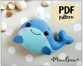 Felt Whale pattern Felt sewing whale PDF tutorial DIY whale baby mobile plushies tutorial pdf sewing DIY whale ornaments