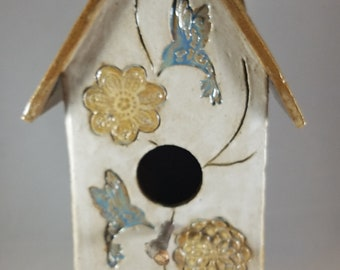 Pottery Handmade Birdhouse Decorative Indoors Outdoors Bird House, Blue and Yellow , Flowers, Vines and Hummingbirds