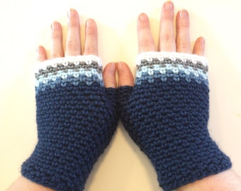 Woven Fingerless Gloves - Ocean, texting gloves, blue hues, driving gloves, woven, crochet gloves, multicolor, adult size, tight stitch