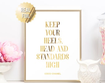 Chanel Print Coco Chanel Poster - Chanel Decor - Keep Your Heels Head and Standards High - Gold Foil Print Fashion Print - Bedroom Decor Art