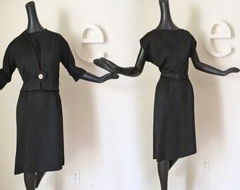 Vintage 1950s 1960s Little Black Dress & Jacket Set Rockabilly PinUp Bombshell Wiggle Dress Mad Men Faille Fabric Large Rhinestone Button