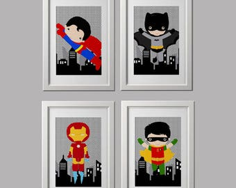 superhero wall art CANVAS prints, Super hero wall art prints, superhero prints, set of 4 Canvas, character choice, batman bedroom