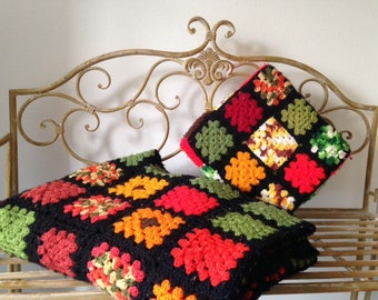 Handmade Crocheted Granny Afghan Squares Blanket and Pillow