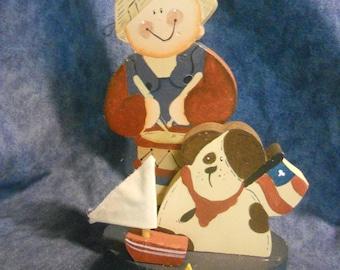 Country Patriotic Sailboat Boy