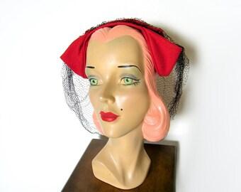 Vintage 1940's Lipstick Red Felt Kitty Ears Headband Hat w/Veil~