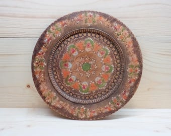 Vintage Decorative Wooden Plate - Hand Painted Plate - Wall Hanging Wooden Plate - Antique 50s Wooden Plate Wall Decor - made in Bulgaria