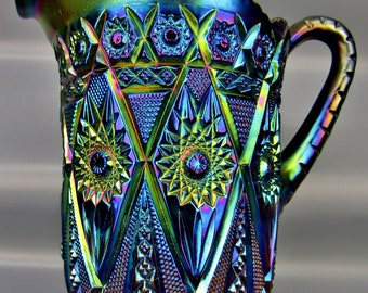 Imperial Purple Carnival Glass DIAMOND LACE Water Pitcher