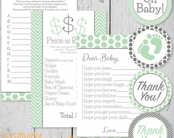 Mint Green and Gray Baby Shower Games Printable Pack- Printable Games and Labels