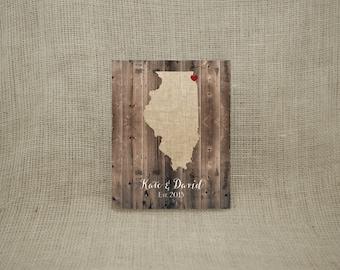 "8x10"" Personalized Barnwood & Burlap State Print (UNFRAMED)  - Makes a wonderful wedding, anniversary, engagement or housewarming gift!"